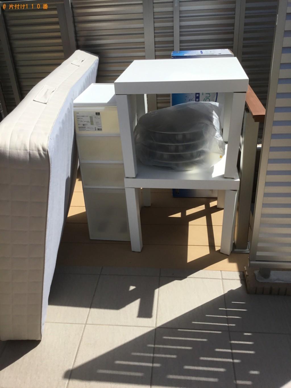 【石巻市】ガラステーブル、シングルベッド、自動車タイヤ等の回収