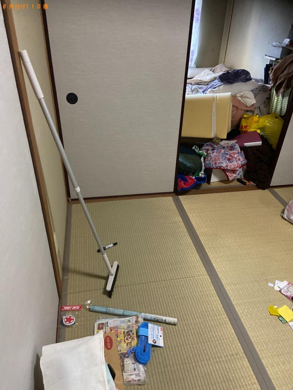 【石巻市】遺品整理でットレス付きシングルベッド、ダンボール、古本等の回収